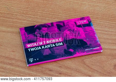 Pruszcz Gdanski, Poland - March 1, 2021: T-mobile Sim Card. T-mobile Polska S.a. Is A Polish Mobile