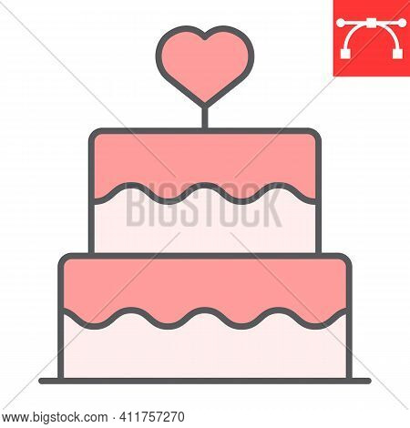 Stacked Wedding Cake With Heart Color Line Icon, Dessert And Bakery, Love Cake Vector Icon, Vector G