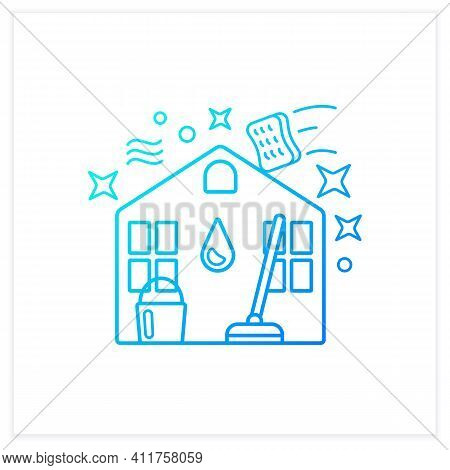 Spring Cleaning Gradient Icon. Spring Outdoor Cleanup. Sweeping, Wiping. House Maintenance. Housekee