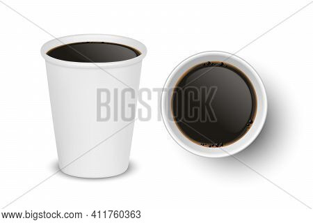Vector 3d Realistic Paper White Disposable Cup Set Isolated With Black Coffee Isolated. Espresso, Am