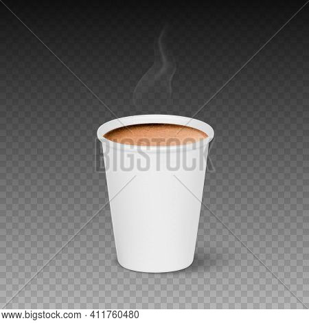 Vector 3d Realistic Paper White Disposable Cup Isolated With Hot Milk Coffee Foam. Steam, Smoke. Lat