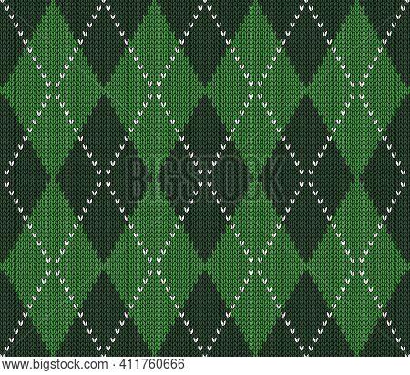 Knitted Argyle St. Patricks Day Pattern