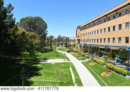IRVINE, CALIFORNIA - 16 APRIL 2020: The International Center on the Campus of the University of California Irvine, UCI.