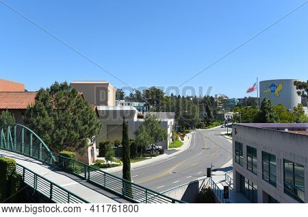 IRVINE, CALIFORNIA - 16 APRIL 2020: Looking up Mesa Road from the Mesa Parking Structure at the University of California Irvine, UCI.