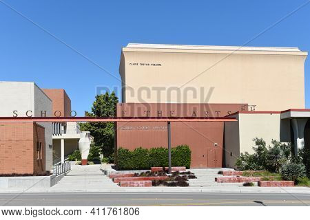 IRVINE, CALIFORNIA - 16 APRIL 2020: Robert Cohen Theater at the Claire Trevor School of the Arts on the campus of the University of California Irvine, UCI.