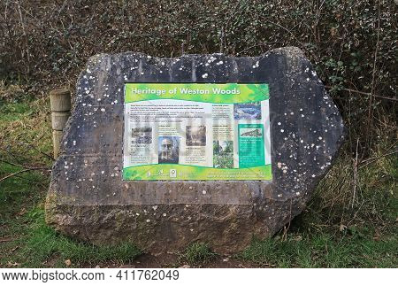 Weston-super-mare, Uk - March 5, 2021: A Plaque Giving Information About The Heritage Of Weston Wood