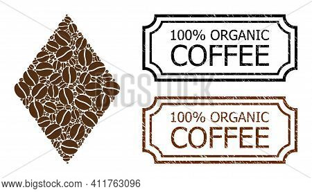 Mosaic Filled Rhombus Organized From Coffee Beans, And Grunge 100 Percents Organic Coffee Rectangle