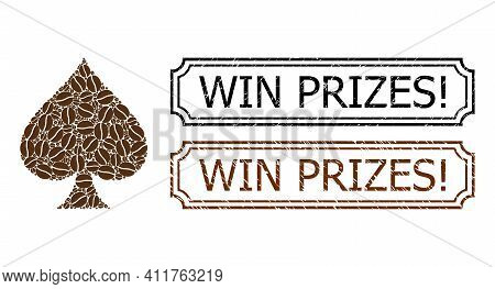 Mosaic Peaks Suit Organized From Coffee Grain, And Grunge Win Prizes Exclamation Rectangle Stamps Wi
