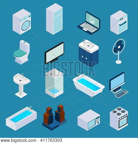 Isometric Household Appliances Set With Washing Machine Refrigerator Computer 3d Icons Isolated Vect