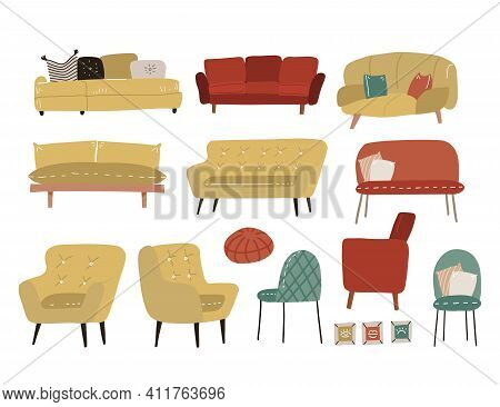 Scandinavian Style Set Of Different Cushioned Furniture - Soca, Couch, Armchair, Chair And Ottoman.