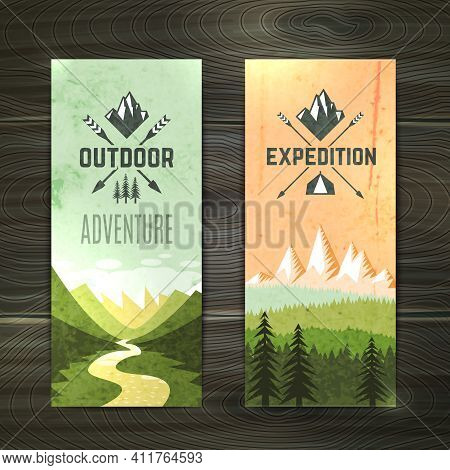 Tourism Hiking Holidays Forest Landscape With Mountain Peaks And Two Vertical Banners Set Abstract I