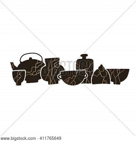Kintsugi Pottery Ceramics Composition. Japanese Ceremony Tableware Illustration. Crackle Cup, Jar Or
