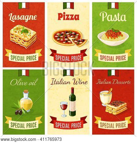 Italian Food Mini Poster Set Wtih Lasagne Pizza Pasta Olive Oil Wine Dessert Isolated Vector Illustr
