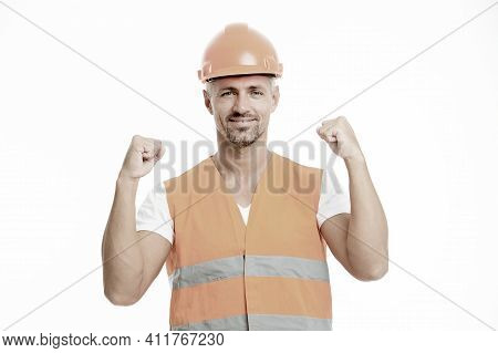 Successful Engineer. Man Protective Hard Hat And Uniform White Background. Worker Builder Confident