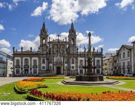Braga, Portugal ; August 2020 : View Of Church Of Saint Mark (igreja De Sao Marcos) At Largo Carlos