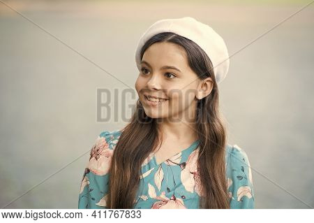 Classic French Look. Beauty Look Of Girl Child. Happy Baby Smile With Fashion Look. Trendy Look. Sty