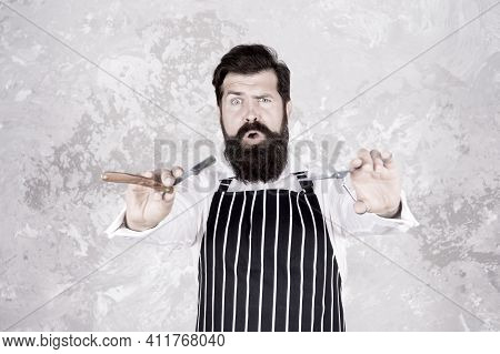 Facial Hair. Bearded Barber Shaving. Barber Tools. Barber In Apron Hairdresser Equipment Blade And S