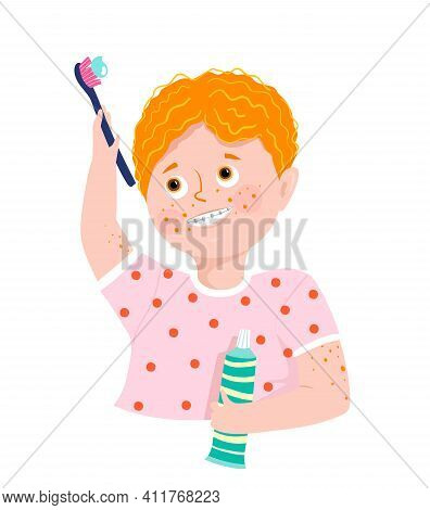 Happy Boy Brushing His Teeth Holding Toothbrush And Toothpaste, Wearing Braces. Kids And Children De