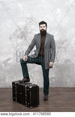 Hipster Traveler With Baggage. Ready For Relocation With Baggage. Start Journey. On Way To New Life.