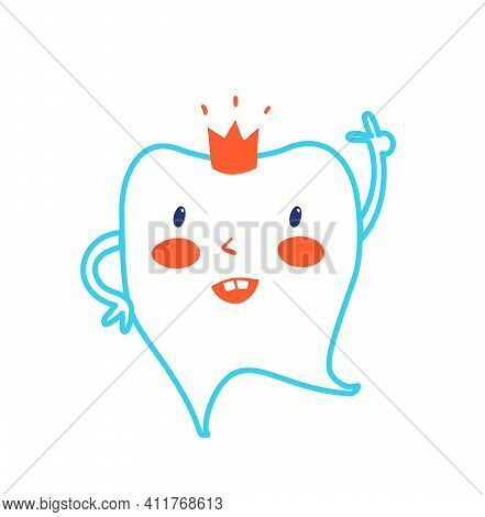 Happy Healthy Tooth Wearing A Crown, Showing Ok. Icon Dent Design With Thumb Up. Dental Care Vector