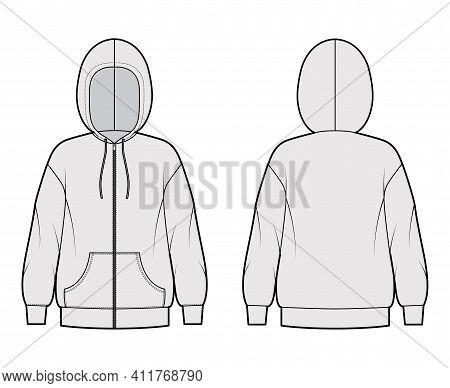 Zip-up Hoody Sweatshirt Technical Fashion Illustration With Long Sleeves, Oversized Body, Kangaroo P