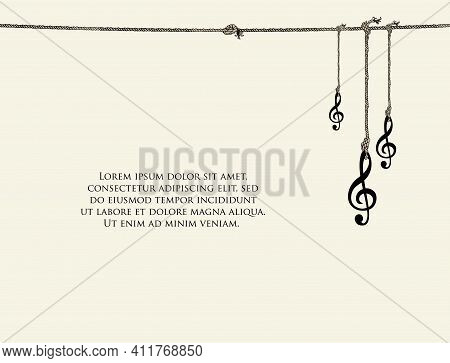Vintage Banner Or Background With Treble Clefs And Place For Text On A Light Backdrop. Vector Music