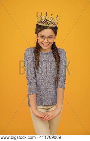 Princess Who Always Smiles. Happy Princess Yellow Background. Princess Girl Wear Luxury Crown. Beaut