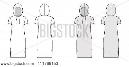 Hoody Dress Technical Fashion Illustration With Short Sleeves, Knee Length, Oversized Body, Pencil F