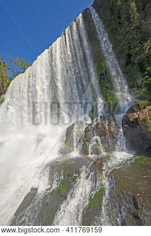 Dramatic Falls Plunging From The Sky Of Bosetti Falls In Iguazu Falls National Park In Brazil