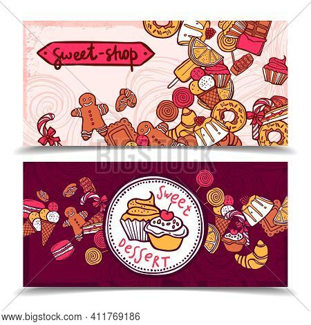 Sweetshop Vintage Chocolate Cupcakes Desserts Confectionary Store Ginger Boy Cookies Horizontal Bann