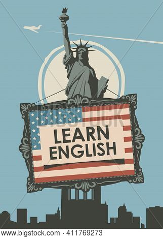 Vector Banner On The Topic Of Learning English For A Language School Or Online Course. Decorative Il