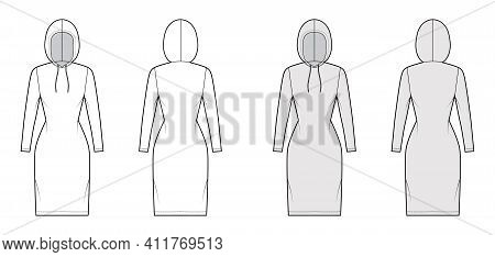Hoody Dress Technical Fashion Illustration With Long Sleeves, Knee Length, Fitted Body, Pencil Fulln
