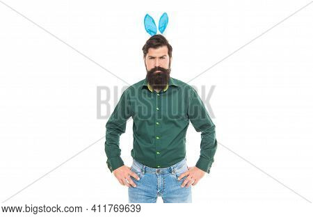 My Ears Are So Cute. Brutal Easter Man Isolated On White. Bunny Hunt. Just Having Fun. Ready For Eas