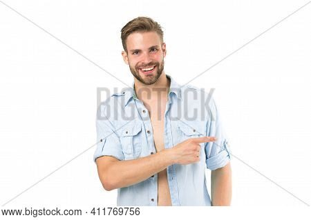 Look There. Man Handsome Bearded Guy Smiling On White Background Isolated. Guy Cheerful Smile Macho