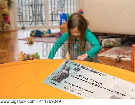 Us Treasury Illustrative Check For Child Tax Credit For A Small Girl To Illustrate American Rescue P