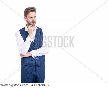 Set A Trend. Fashion Model With Serious Look Isolated On White. Wearing Formal Style. Menswear Colle