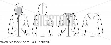 Set Of Zip-up Hoody Sweatshirt Technical Fashion Illustration With Long Sleeves, Oversized Body, Kan