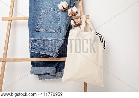 Mockup With Organic Cotton Tote Bag And Jeans. Sustainable Ethical Consumption, Zero Waste, Circular