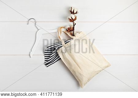 Mockup With Organic Cotton Tote Bag. Sustainable Ethical Consumption, Zero Waste, Circular Fashion C