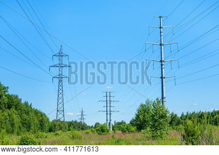 Pillars Of Power Lines Located Outside The City In The Middle Of A Forest And A Flower Field. All To