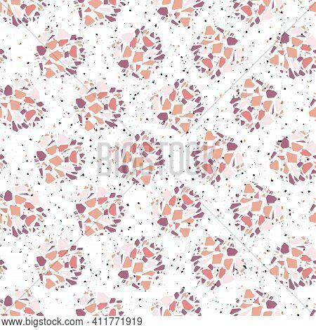 Pink Italian Terrazzo Seamless Pattern Half Drop Polka Dots. Venetian Inspired Marble Background.
