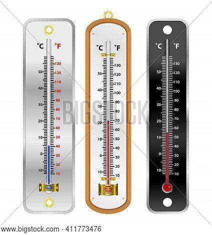Set Of Realistic Mercury Thermometer Isolated Illustration Or Room Temperature Thermometer Indoor An