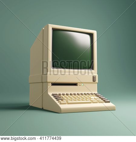 Vintage1980's Personal Desktop Computer And Built In Screen And Keyboard. 3d Illustration.