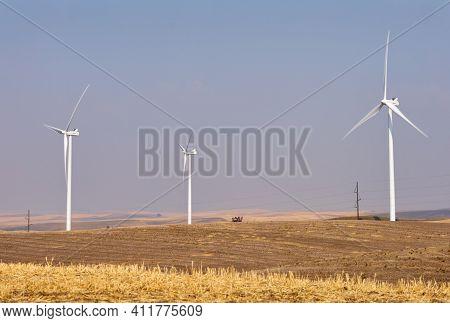 Windfarm Turbines Palouse. Wind turbines on an agricultural field in the Palouse area of eastern Washington.