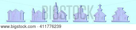 Set Of Abbey Cartoon Icon Design Template With Various Models. Modern Vector Illustration Isolated O