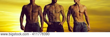 Three Men, Youngmale Athlete People With Sexy, Muscular Torso Outdoors. Nude Bare Male Torso