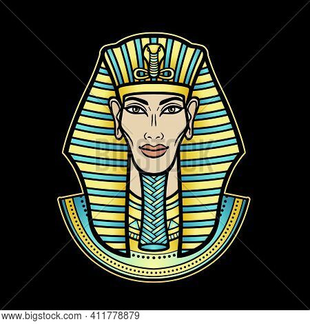 Animation Color Portrait Egyptian Man. Pharaoh, King, Mummy. Vector Illustration Isolated On A Black