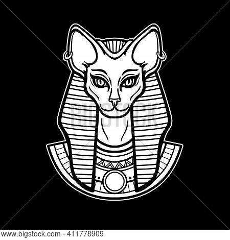 Animation Portrait Ancient Egyptian Goddess Bastet (bast) With Cat Head.  Vector Illustration Isolat
