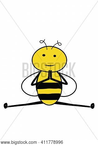 Cartoon Cute Bee Doing Split. Peaceful Bee In A Yoga Pose.