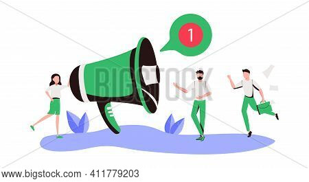 Public Relations And Affairs, Communication, Pr Agency Marketing Team Work With Huge Megaphone, Aler
